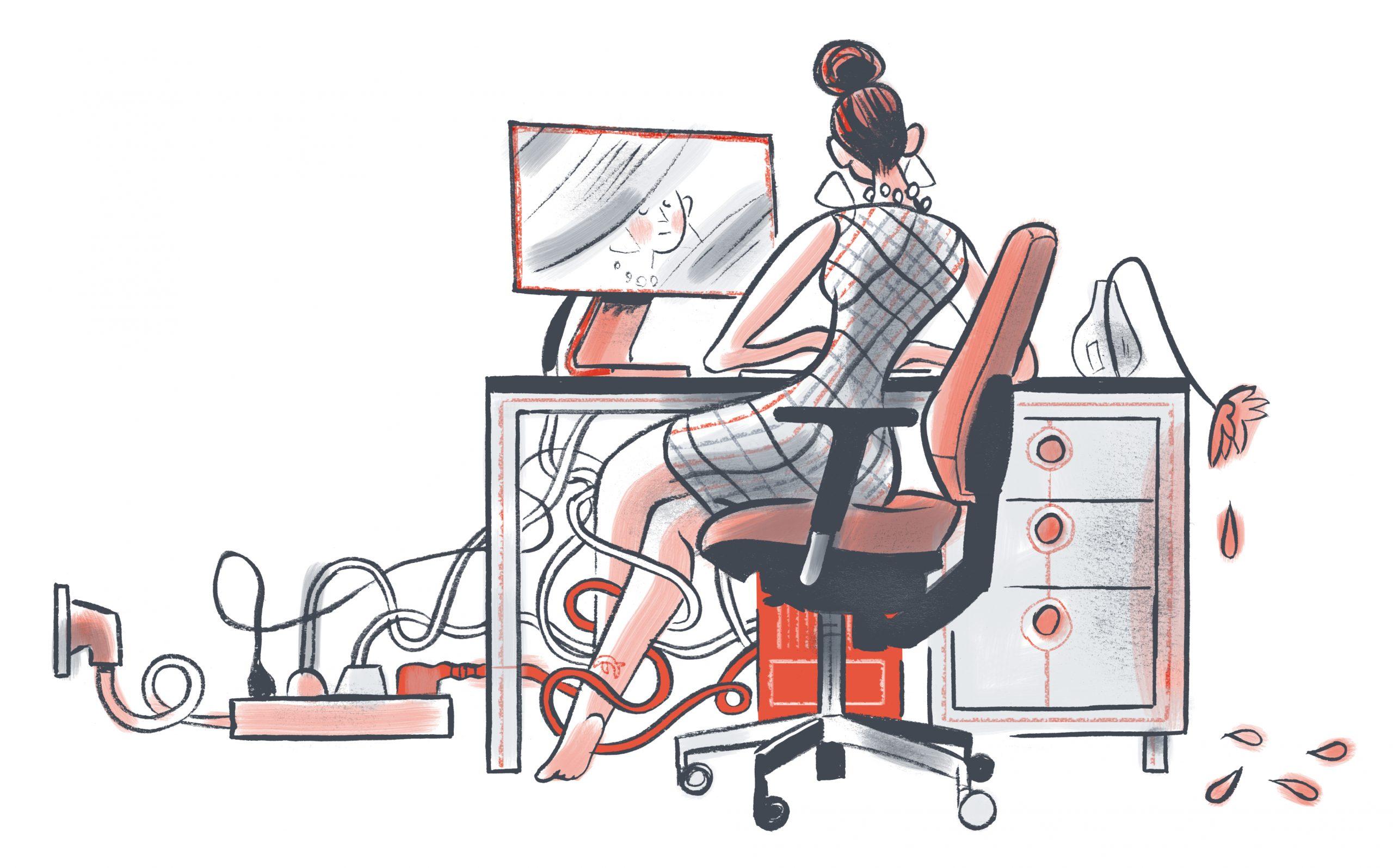 ergonomische bureau hangkabels