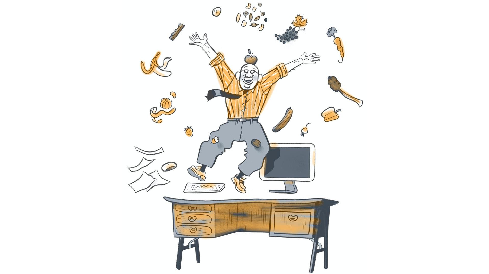 gezonde pauzehapjes in ergonomisch kantoor