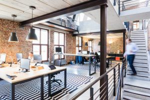 office workplace combines daylight and artificial light