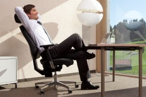 Ergonomic sitting on an office chair with headrest