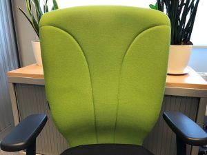 Ergonomic back cushion made of molded foam and wool fabric with an anatomical curve for the back