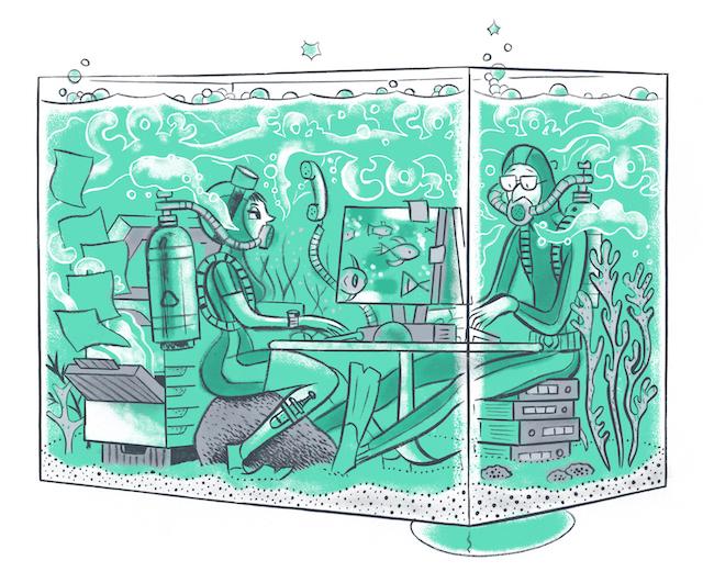 Gezonde en goede lucht in een kantoor zijn belangrijk dat de CO2 wordt aangevuld met verse lucht
